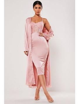 Blush Satin Lace Midi Dress Kimono Duo Co Ord Set by Missguided