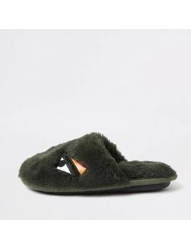 boys-khaki-faux-fur-monster-slippers by river-island
