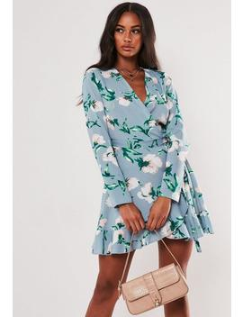 Blue Floral Wrap Front Tea Dress by Missguided