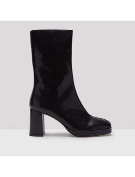 Carlota Black Snake Leather Boots by Miista