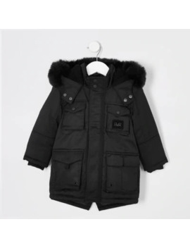 mini-boys-black-faux-fur-hooded-utility-parka by river-island