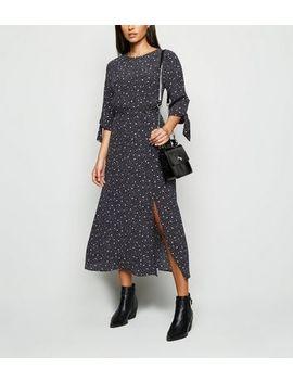 black-spot-tie-sleeve-midi-dress by new-look