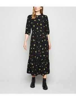 black-ditsy-floral-tiered-smock-midi-dress by new-look