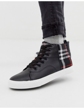 brave-soul-high-top-sneakers-with-checked-panels by asos