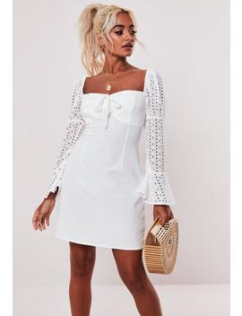 Tall White Broderie Anglaise Sleeve Milkmaid Dress by Missguided