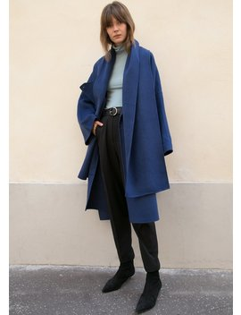 Yale Blue Wool Blend Cape Coat With Draping by The Frankie Shop