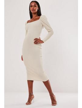 Stone Rib Puff Sleeve Midi Dress by Missguided