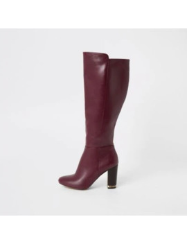 Purple Knee High Chain Heeled Boots by River Island