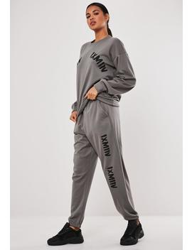 gray-graphic-front-oversized-joggers by missguided