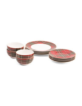 12pc Wexford Plaid Porcelain Dinnerware Set by Tj Maxx