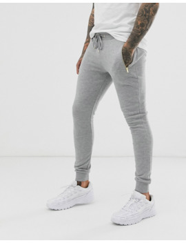 asos-design-super-skinny-sweatpants-in-gray-marl-with-silver-zip-pockets by asos-design