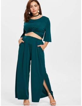 plus-size-twist-top-and-wide-leg-pants---medium-sea-green-1x by zaful