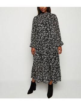 curves-black-chiffon-floral-midi-dress by new-look