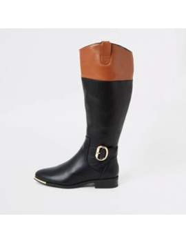 Black Contrast Trim Riding Boots by River Island
