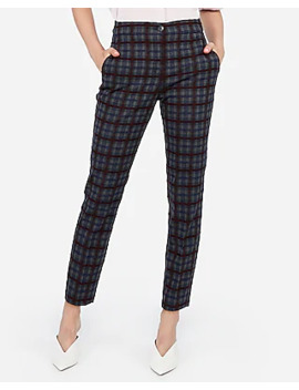 high-waisted-textured-windowpane-ankle-pant by express