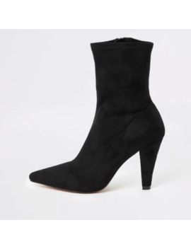 Black Pointed Heel Sock Boots by River Island