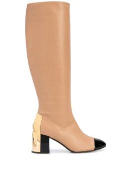 stivali-al-ginocchio-con-punta-a-contrasto by casadei