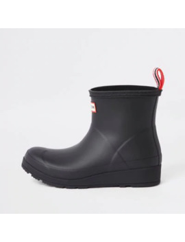 Hunter Play Black Short Wellington Boots by River Island
