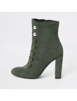 Green Suede Button Heeled Ankle Boot by River Island