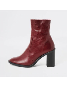 Red Leather Heeled Sock Boots by River Island