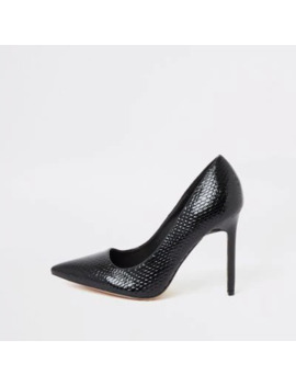 black-wide-fit-embossed-court-shoes by river-island