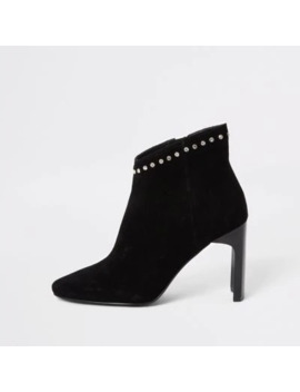 black-suede-embellished-heeled-ankle-boot by river-island
