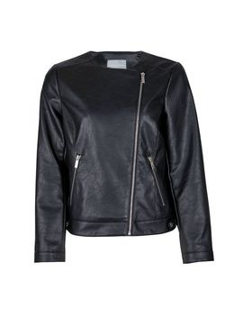 petite-black-faux-leather-collarless-jacket by dorothy-perkins