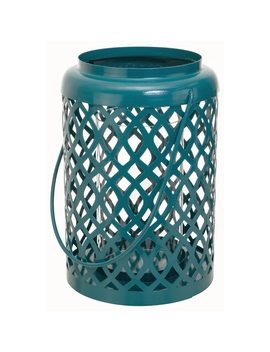 Pemberly Row Lantern  Aqua Blue 6 Inch By 6 Inch By 9 Inch Keep In Touch by Homes Quare