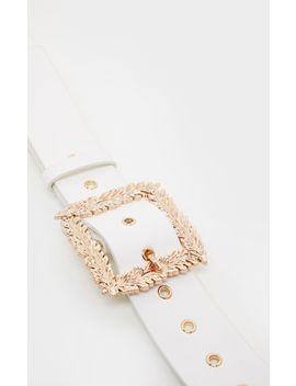 white-leaf-buckle-effect-waist-belt by prettylittlething