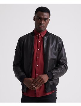 Leather Flight Bomber Jacket by Superdry