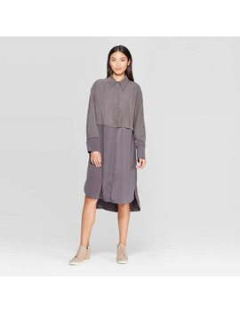 womens-long-sleeve-relaxed-fit-collared-midi-shirtdress---prologue by prologue
