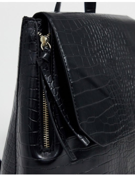 pimkie-mock-croc-back-pack-in-black by pimkie