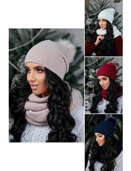 knit-hat,-beanie-pompom,-knitted-snood,-knit-scarf-hat-set by etsy