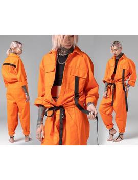 women-one-piece-jumpsuit,-mechanic-orange-overalls,-adult-romper,-urban-street-style,-futuristic-flight-workwear,-a0160 by etsy