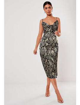 Grey Snake Print Satin Cowl Midi Dress by Missguided