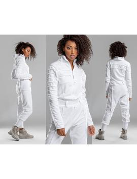 women-white-jumpsuit,-mechanic-pilot-overalls,-futuristic-sci-fi-top,-harem-jogger-pants,-a0307 by etsy