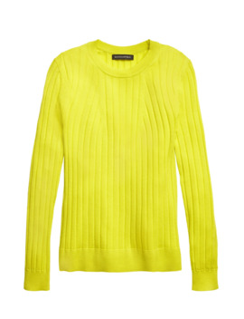 Petite Washable Merino Ribbed Sweater by Banana Repbulic