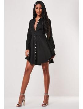 Black Pearl Button Skater Dress by Missguided