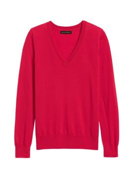 petite-washable-merino-v-neck-sweater by banana-repbulic