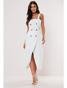 White Stripe Horn Button Midi Dress by Missguided