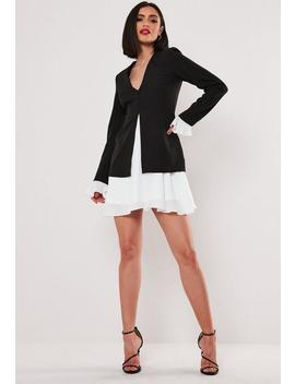 Black Frill Hem Blazer Dress by Missguided