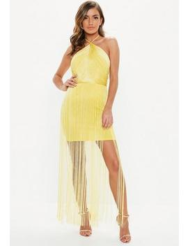 yellow-halterneck-fringed-bodycon-mini-dress by missguided