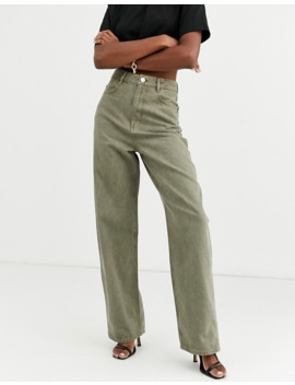 asos-design-tall-high-rise-relaxed-dad-jeans-in-khaki by asos-design