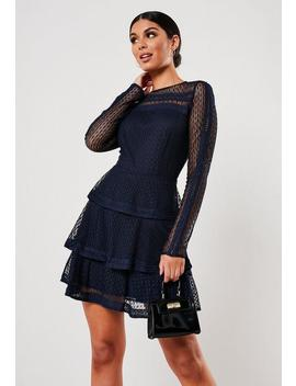 Navy High Neck Lace Ruffle Dress by Missguided
