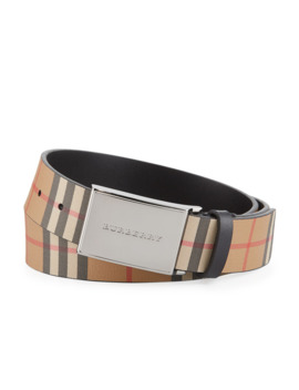 mens-charles-check-leather-belt by burberry