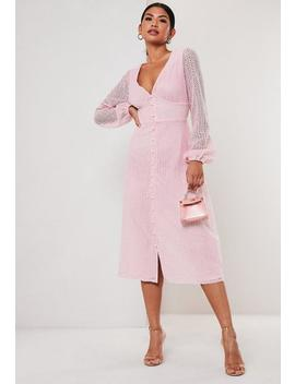 Blush Lace Button Through Midi Dress by Missguided