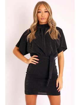 black-glitter-batwing-sleeve-belted-dress---florene by rebellious-fashion