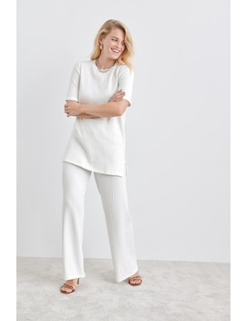 Sanne Rib Trousers by Ginatricot