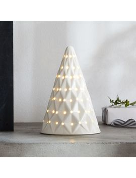 """Led 8"""" White Ceramic Tree by Crate&Barrel"""