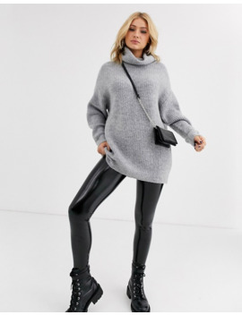 bershka-longline-roll-neck-oversized-jumper-in-grey by bershka